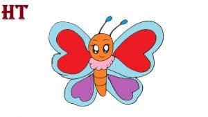 Cartoon Butterfly drawing cute and easy