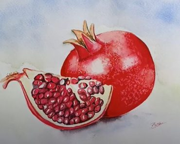 How to Draw a Pomegranate Step by Step - Fruits Drawing Tutorial