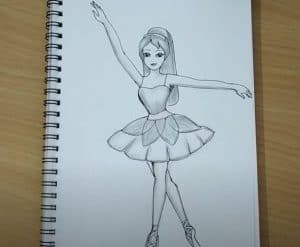How to draw Barbie doll Step by Step - dancing barbie drawing