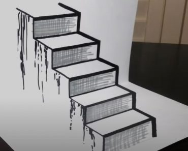 3D stairs drawing - How to draw a staircase step by step