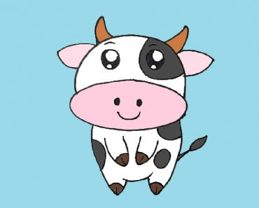 Cartoon cow drawing cute and easy