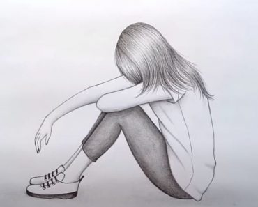 Drawing of a sad girl step by step - How to draw a sad girl easy