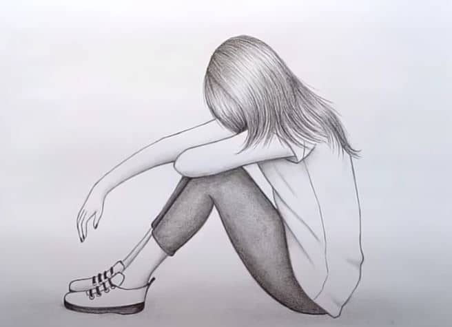 Drawing of a sad girl step by step || How to draw a sad girl easy