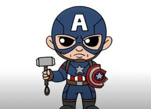 How to Draw Chibi Captain America Step by Step