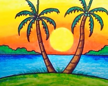 How to Draw Easy Scenery with Oil Pastels - Sunset Scenery Drawing