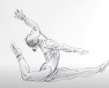 How to Draw a Gymnast easy with Pencil - Gymnast drawing step by step