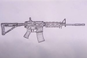 How to Draw a M4A1 Step by Step - Gun Drawing Easy
