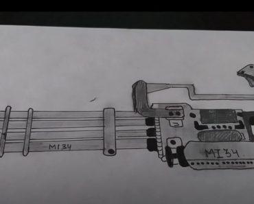 How to Draw a Minigun Step by Step - Gun Drawing Tutorial
