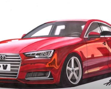How to draw audi a4 step by step