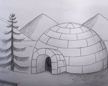 Igloo drawing for kids - How to draw Igloo House step by step