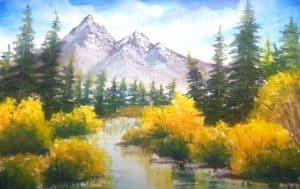 Mountain Lake Painting using oil pastel - Scenery Painting Tutorial