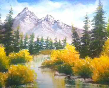 Mountain Lake Painting using oil pastel - Scenery Painting Tutorial