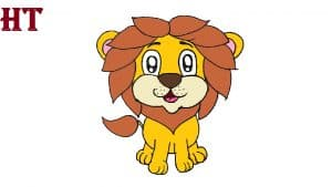 cartoon lion drawing cute and easy