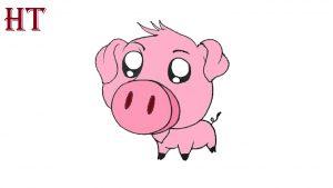 Cute Pig Drawing easy