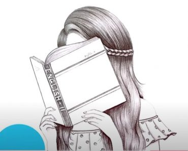Drawing of a girl studying with Pencil - How to draw a Girl Step by Step