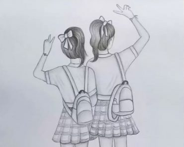 Friendship Drawing With Pencil - How to draw school girl Step by Step