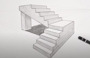 How to draw 3d stairs Step by Step