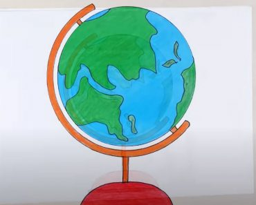 How to draw a Globe step by step