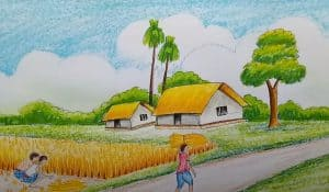 How to draw landscape - scenery of field Step by Step