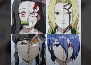 Drawing Nezuko, Tsunade, Touka and Korra Step by Step