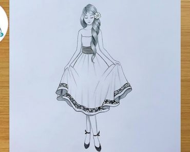 Drawing of Girl with beautiful dress - How to draw a Girl easy