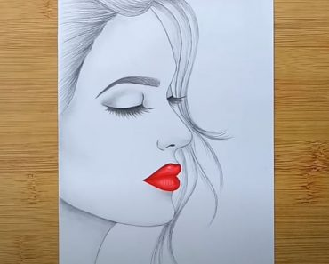 Female Face Drawing with Pencil