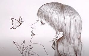 How to draw A Girl with Butterfly