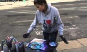 Spray Painting Amazing talent New York City Time by Girl