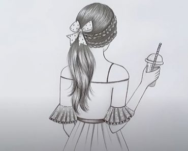 A Beautiful Girl with summer drink and Stylish Hairstyle Drawing