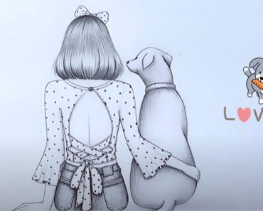 Dog and Girl Drawing with Pencil