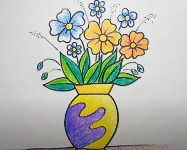 How to Draw Flowers in a Vase Step by Step