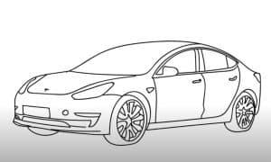 How to Draw a Tesla Model 3