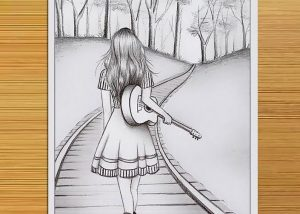 How to draw a scenery of a girl
