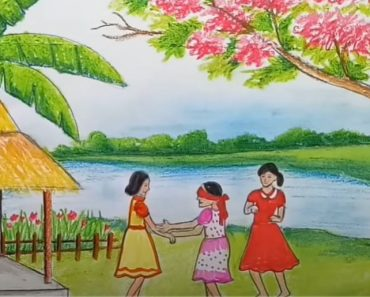 How to draw scenery of children's play with Pencil