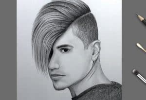 Boy Face Drawing by Pencil