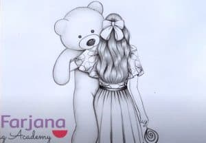 How to draw a girl with her Teddy bear