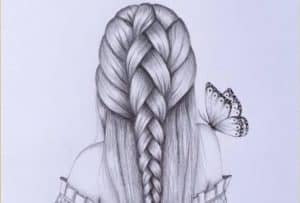 Girl with beautiful hairstyle Drawing by Pencil