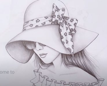 How to draw a Girl wearing Sun Hat and Sunglass