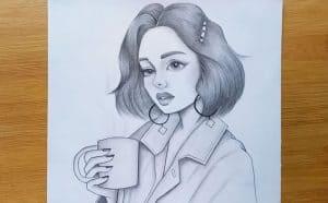 How to draw a girl with a coffee mug