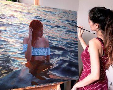 Bathing girl Drawing by beautiful Girl