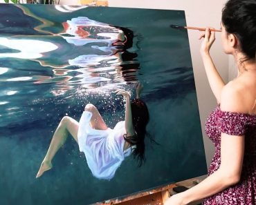 Girl in the pool Painting by Girl